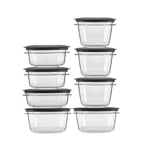 Rubbermaid Premier food storage plastic and Easy Fine Lids Gray Set of 16 by Rubbermaid