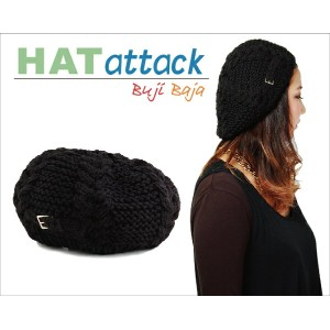 HAT ATTACK ニット 帽 ハット アタック Cable Beret with Knit Tab Buckle レディース 帽子 ジャンルでも注目が高い ニット ベレー 帽
