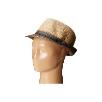 スカラ メンズ 帽子 ハット【Matte Raffia Braid Fedora with Strip Ribbon Band】Brown
