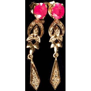 Faceted Ruby Earrings with Diamonds – 18 Kゴールド