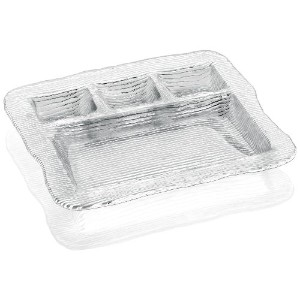 IVV Glassware All In One 4-section Multipurpose Serving Platter , 12 – 1 / 2 by 11インチ、クリア