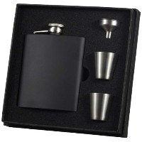 Visol Raven Stainless Steel Deluxe Flask Gift Set, 8-Ounce, Black by Visol