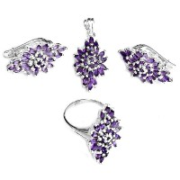Faceted Amethyst Pendant with Earrings and Ring Set - Sterling Silver Ring Size 7.5