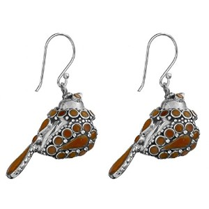 Inlay Sparrowイヤリングwith Gems–sterling-silver