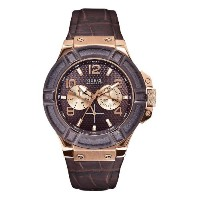 [ゲス] GUESS 腕時計 Men's Rigor Standout Multi-Function Dressy Sport Watch with Genuine Leather Brown...