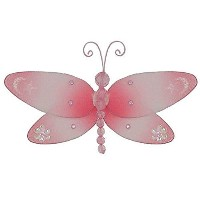The Butterfly Grove Dakota Dragonfly 3D Hanging Mesh Nylon Decor, Pink Carnation, Small, 7 x 4 by...