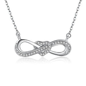 BAMOER 無限ネックレス ハート CZ付き 無限の愛 シルバーネックレス シルバー925ペンダント Endless Love Silver Necklace with White CZ