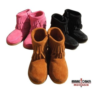 【SALE 30%OFF】MINNETONKA(ミネトンカ) Side Zip Double Fringe Boot KID'S(14-20)【TK-sspt】