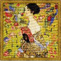 RIOLISクロスステッチ刺繍キット No.1226 「Lady with a Fan」 after Gustav Klimt's Painting (扇と夫人 グスタフ・クリムト) 【...