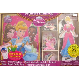 【Disney PRINCESS CINDERELLA 50 Piece Dress Up MAGNETIC WOODEN DOLL & Book Set w Dressing Room ...