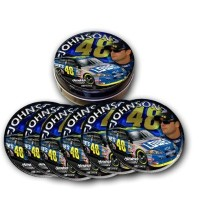 Jimmie Johnson # 48 NASCARのコースターセット – セットof 6 Collectible Tin