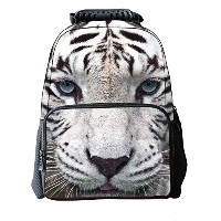 Lawlait Kids 白い虎头 Print Cute School Backpack (white tiger)