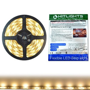 HitLights Weatherproof Warm White SMD5050 LED Light Strip - 150 LEDs, 16.4 Ft Roll, Cut to Length -...