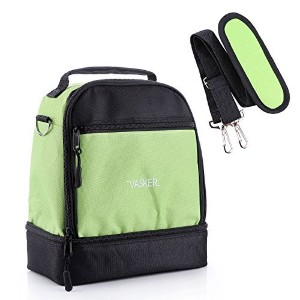 vasker Insulated Lunchバッグファッショナブルなクーラーバッグwith Adjustable取り外し可能ストラップ&フロントポケット