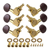 Yibuy Sealed ギター弦 Tuning Pegs 弦セット Machine Heads 3L3R Gold