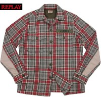 【SALE】40%OFF★REPLAY/リプレイ M4864 CHECK MILITALY SHIRT JACKET チェック、ミリタリーシャツジャケット RED/GREY(レッド×グレー)