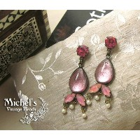 Michel's Vintage Beads Earing Pear Line Pinkヴィンテージビーズピアス・ペアラインピンク