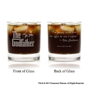 The Godfatherムービーロゴwith Quote Engravedカクテルでガラスで映画ガラス