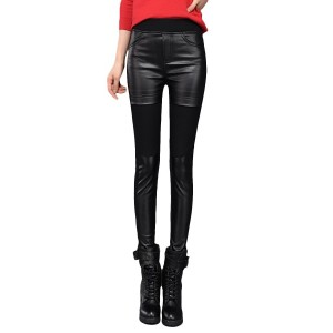Women s Skinny Pants Mid Waist Elastic Faux Leather Patchwork Solid Pants