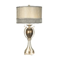 Dale Tiffany PG10004 Camberidge Table Lamp, Satin Nickel and Fabric Shade by Dale Tiffany Lamps