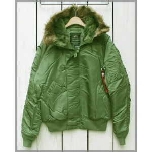 ALPHA INDUSTRIES N2-B Flight Jacket / military Sage Green / fur hood アルファ インダストリーズ N2B フライト ジャケット...