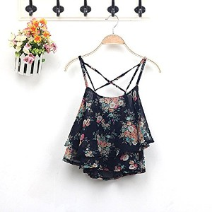 Fashion Women Summer Floral Vest Top Sleeveless Casual Tank Blouse Tops T-Shirt (Black)