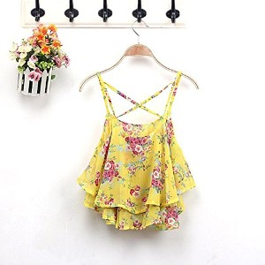 Fashion Women Summer Floral Vest Top Sleeveless Casual Tank Blouse Tops T-Shirt (Yellow)
