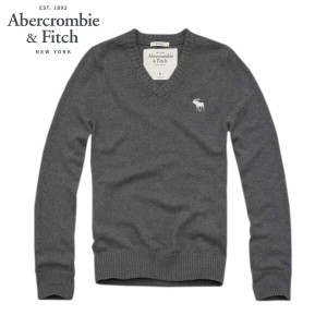 【15%OFFセール 〜7/25 9:59】 アバクロ Abercrombie&Fitch 正規品 メンズ Vネックセーター Morgan Mountain Sweater CHARCOAL