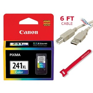 """Genuine Canon CL-241XL ハイ Yield カラー Ink Cartridge (1 x USB 2.0 A to B 6"""" ケーブル and Abacus 24-7 レッド..."""
