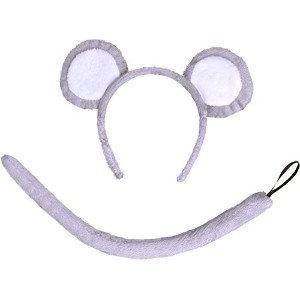 Bristol Novelty Mouse Set Grey Ears + Tail. Instant Disguises Unisex One Size