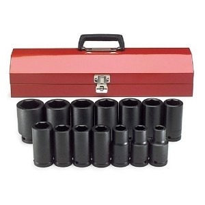 S K Hand Tools SKT87914 .75in. Drive 6 Point SAE Deep Impact Socket Set - 14 Pieces