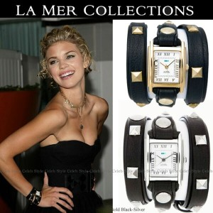【送料無料】SALE LA MER collections ラメール コレクションズ Black-Gold Black-Silver Wrap Watch / Pyramid Studs 腕時計...