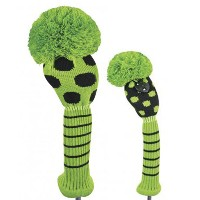 Just 4 Golf Ladies Black and Lime Dot Headcovers【ゴルフ レディース>ヘッドカバー】