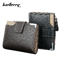 Men baellerry Short Wallets Bifold Wallet Male PU Leather Card holder Coin With Zipper Coins Wallet