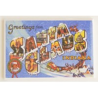 Greetings from Santa Claus Indiana冷蔵庫マグネット( 2.5 X 3.5インチ)
