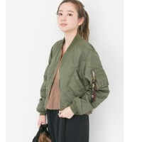 UR ALPHA INDUSTRIES×URBAN RESEARCHiD 別注LOOSE FIT MA-1【アーバンリサーチ/URBAN RESEARCH レディス ミリタリージャケット OLIVE...