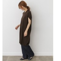 DOORS mizuiro-ind crew neck gathered wide one-piece【アーバンリサーチ/URBAN RESEARCH レディス ワンピース brown ルミネ...