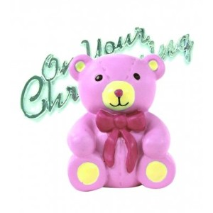 Teddy Bear Resin Christening Cake Decoration - Pink