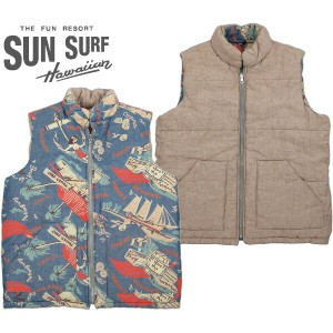 "【SALE】30%OFF★SUN SURF /サンサーフ ""SOUTH SEA TRADER"" CHAMBRAY REVERSIBLE VEST リバーシブル 中綿入りベスト BLUE(ブルー..."