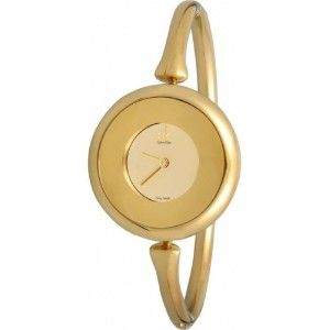 Calvin Klein カルバンクライン レディース腕時計 Quartz Sing Collection Gold Dial Women's Watch K1C23909