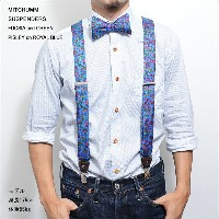 MITCHUMM(ミッチュム)SS'14SUSPENDERSFUCSIA and GREEN PISLEY on ROYAL BLUEペイズリー柄サスペンダー