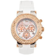 Mulco マルコ 男女兼用腕時計 MW3-70602S-113 Stainless Steel Chronograph BlueMarine Collection Rose Gold and Stones bezel White Band Watch