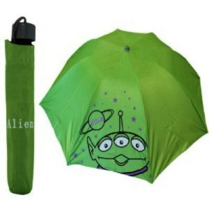 Disneyグリーントイストーリー3エイリアン傘と傘カバー/Green Toy Story 3 Eye Alien Umbrella with Cover for Kids