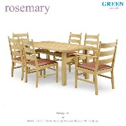 34%OFF [ダイニング7点] GREEN home style ROSE MARY DINING TABLE 150 + ARM CHAIR B + SIDE CHAIR B (グリーン...