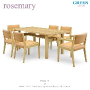 27%OFF [ダイニング7点] GREEN home style ROSE MARY DINING TABLE 180 + ARM CHAIR A + SIDE CHAIR A (グリーン...