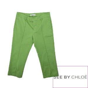 【SALE】【70%OFF】SEE BY CHLOE シーバイクロエ P091341A カラー クロップドパンツ R03. GREEN