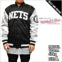 送料無料 MITCHELL&NESS NBA COLOR BLOOKED SATIN JACKET BROOKLYN NETS BLACK GRAY ミッチェル&ネス ジャケット スタジャン...