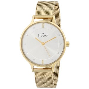 スカーゲン 腕時計 レディース 時計 Skagen Women's SKW2150 Anita Quartz 3 Hand Stainless Steel Gold Watch
