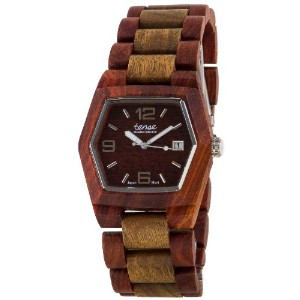 テンス 時計 腕時計 木製 Tense 6-Sided Hexagon Wood Sandalwood/Green Watch Date Window G8300SG DF (Dark Face)