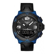 ティソ 腕時計 メンズ 時計 Tissot T-Race Touch Black Dial Black Rubber Mens Watch T0814209705700